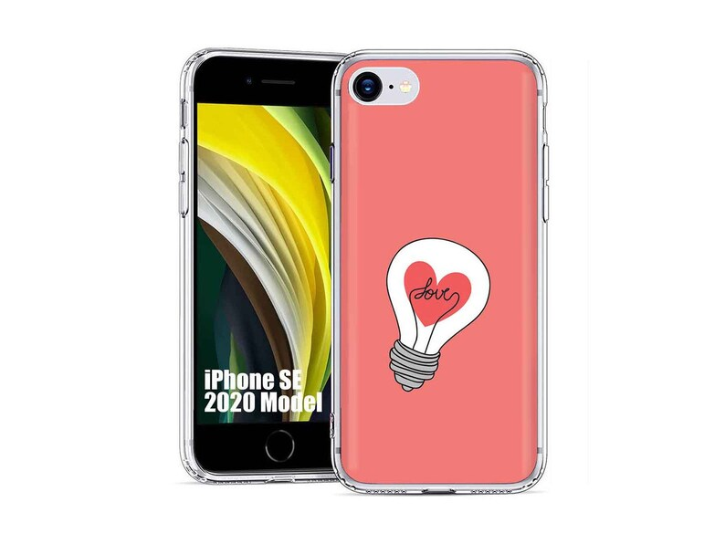 TPU Phone Case Cover for Apple iPhone SE 2020,78,Love Light Bulb Pink Print,Designed in USA