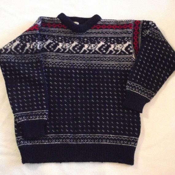 Vintage little lamb norvegian thick wool jumper Code:2404 dropped shoulder cardigan Size M