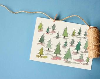 Christmas Trees Printable Card   Christmas Holidays prints collection