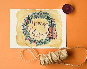 Christmas Violin Printable Card   Christmas Holidays prints collection