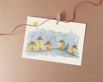 Christmas Village Printable Card   Christmas Holidays prints collection