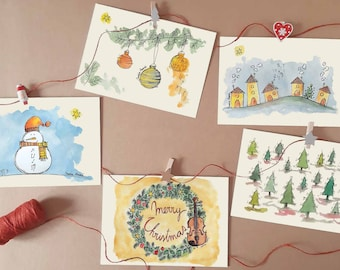 Watercolor Printed Christmas Cards   Musical Prints Collection