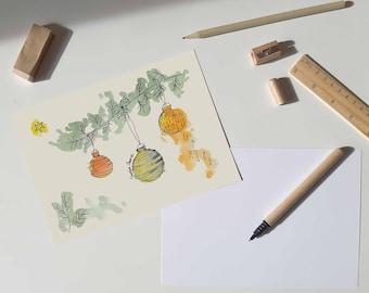 Christmas Baubles Printable Card   Christmas Holidays prints collection