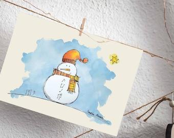 Christmas Snowman Printable Card   Christmas Holidays prints collection