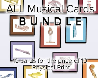19 Printed Cards Bundle   Musical instruments prints collection