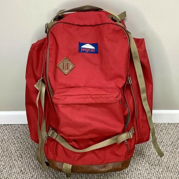 Vintage Jansport Hiking Backpack Large Red Externa