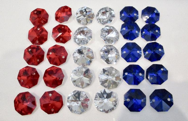 14mm Octagons Red Americana Patriotic Collection White Blue SET of 30-14mm 2-Hole Iridescent Chandelier Crystals Connectors
