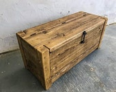 Rustic Reclaimed Solid Wood Scaffold Board Industrial Style Blanket Box Ottoman Trunk Chest Coffee Table