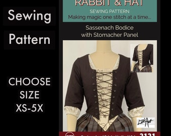 Sassenach Scottish Bodice with Sleeves and Stomacher Panel 2121 New Rabbit and Hat Sewing Pattern