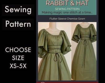 Flutter Sleeve Chemise Gown with Rope Tie Belt 419 New Rabbit & Hat Sewing Pattern - Choose Size XS S M L XL 2X 3X 4X 5X