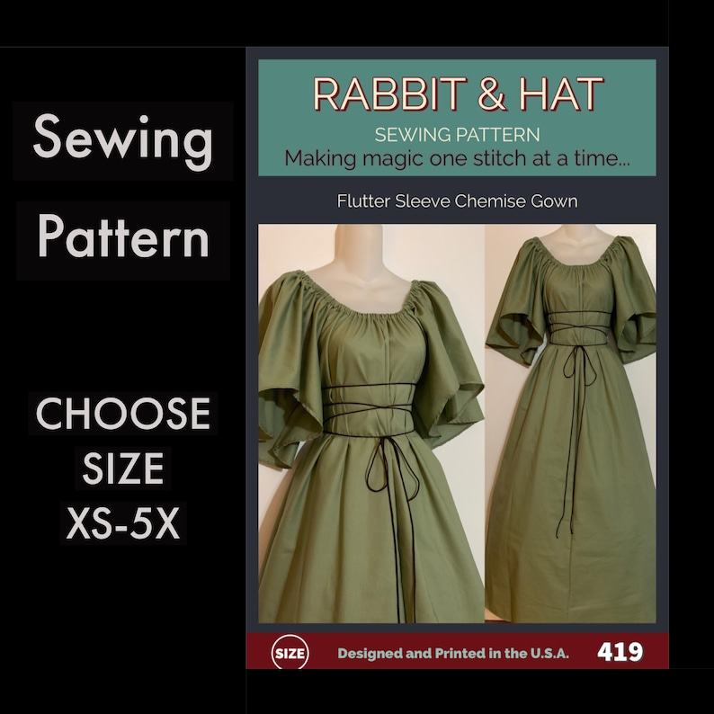 Flutter Sleeve Chemise Gown with Rope Tie Belt 419 New Rabbit image 0