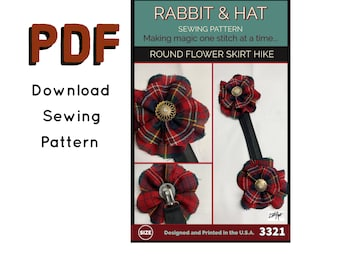 PDF Round Flower Skirt Hike, Brooch, or Hair Clip Accessory 3321 New Rabbit and Hat Sewing Instructions with Photos for Renaissance Costume