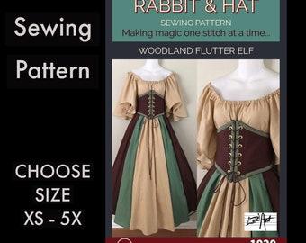 Woodland Flutter Elf Waist Cincher, Flutter Top, A-line Panel Skirt 1920 New Rabbit and Hat Sewing Pattern Choose Size XS-5X
