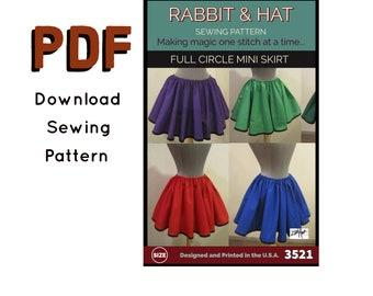 PDF Gathered Waist Full Circle Mini Skirt 3521 New Rabbit and Hat Sewing Pattern - All Sizes Included XS S M L XL 2X 3X 4X 5X