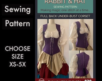 Full Back Laced Steel Boned Under-Bust Corset 820 New Rabbit and Hat Sewing Pattern  Step by Step Photo Instructions