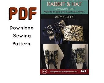 PDF Reversible 2-Layer Arm Cuff Cuffs New Rabbit and Hat PDF Sewing Pattern 421 -  9 Pattern Sizes XS- Plus Size 5X