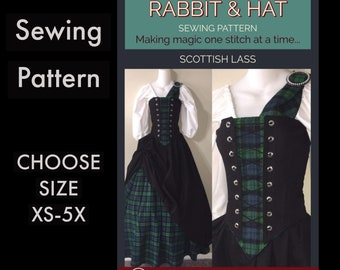 Scottish Lass Bodice with Stomacher Panel, Top, Skirt, Sash 1020 New Rabbit and Hat Sewing Pattern Step by Step Photo Instructions