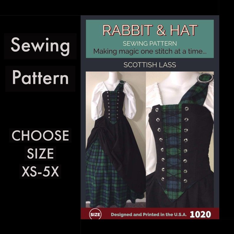 Scottish Lass Bodice with Stomacher Panel Top Skirt Sash image 0