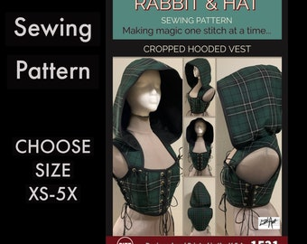 Cropped Hooded Vest 1521 New Rabbit and Hat Sewing Pattern Step by Step Photo Instructions