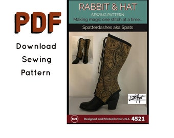 PDF Front Tie Spatterdashes Spats 4521 New Rabbit and Hat Sewing Pattern Renaissance Medieval Accent Garb Victorian Steampunk Shoe Boots