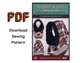PDF Hooded Neck Warmer Scarf 619 New Rabbit and Hat Sewing Pattern Renaissance Medieval Red Riding Hood Costume Gift Winter Lined