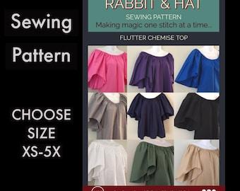 Flutter Sleeve Chemise Top 230 New Rabbit & Hat Sewing Pattern - Choose Size XS S M L XL 2X 3X 4X 5X