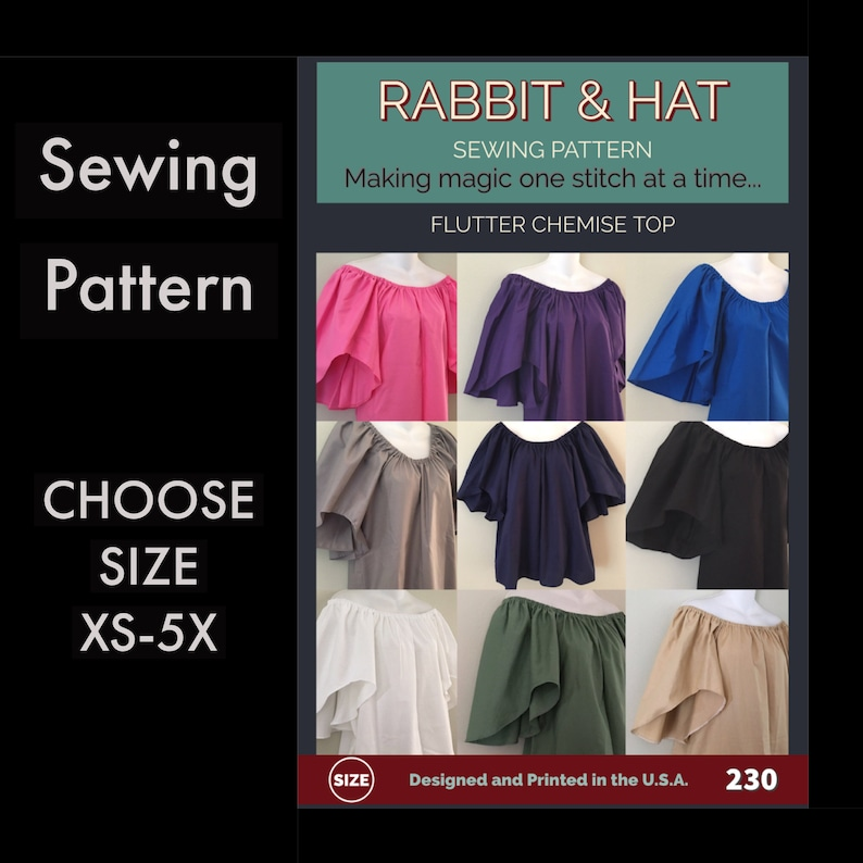 Flutter Sleeve Chemise Top 230 New Rabbit & Hat Sewing Pattern image 0