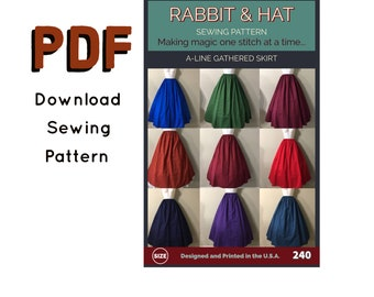 PDF Gathered Waist A-Line Skirt 240 New Rabbit and Hat Sewing Pattern - All Sizes Included XS S M L XL 2X 3X 4X 5X