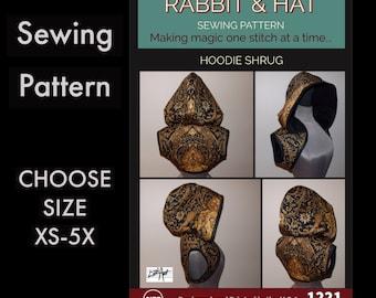 Hoodie Shrug  1221 New Rabbit and Hat Sewing Pattern - Choose Size XS S M L XL 1X 2X 3X 4X 5X