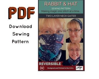 PDF REVERSIBLE 2-Layer Neck Gaiter Headband Scarf New Rabbit and Hat PDF Sewing Pattern - 10 Pattern Sizes Child, Adult, Plus Size thru 5X
