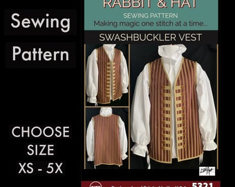 MENS Pirate Swashbuckler Medieval Renaissance Garb Vest New 5321 Rabbit and Hat Sewing Pattern - Choose Size XS S M L XL 2X 3X 4X 5X