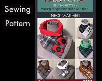 Neck Scarf with Tab Options 1520 New Rabbit and Hat Sewing Pattern - One Size Great to keep warm this winter or Holiday Gifts