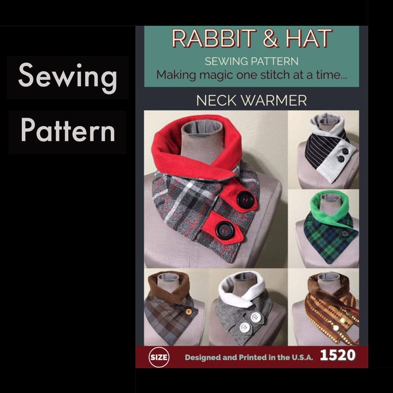 Neck Scarf with Tab Options 1520 New Rabbit and Hat Sewing image 0