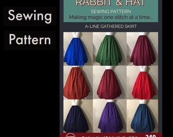 Gathered Waist A-Line Skirt 240 New Rabbit and Hat Sewing Pattern - All Sizes Included XS S M L XL 2X 3X 4X 5X