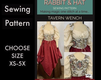 Tavern Wench Under Bust Bodice, Chemise Top, A-Line and Jagged Skirts 2221 New Rabbit and Hat Sewing Pattern Step by Step Photo Instructions