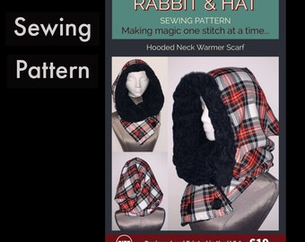 Hooded Neck Warmer Scarf - 619 New Rabbit and Hat Sewing One Size - Pattern - Great to keep warm this winter or for Christmas Gifts presents