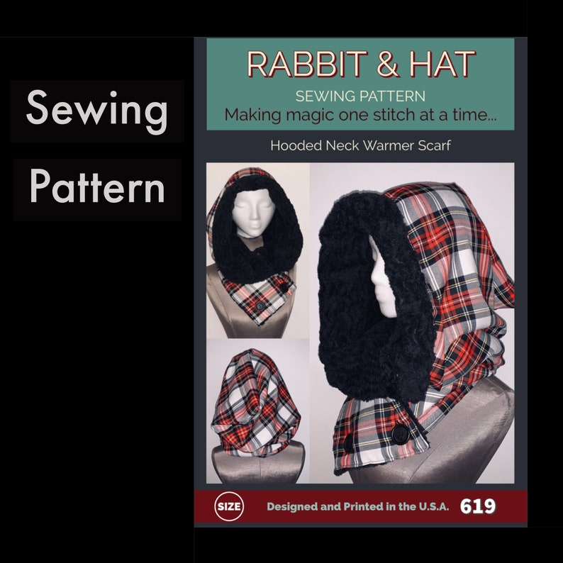 Hooded Neck Warmer Scarf  619 New Rabbit and Hat Sewing One image 0
