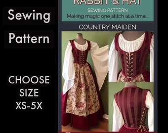 Country Maiden Bodice, Fantasy Top, Skirt, and Apron 1720 New Rabbit and Hat Sewing Pattern Step by Step Photo Instructions
