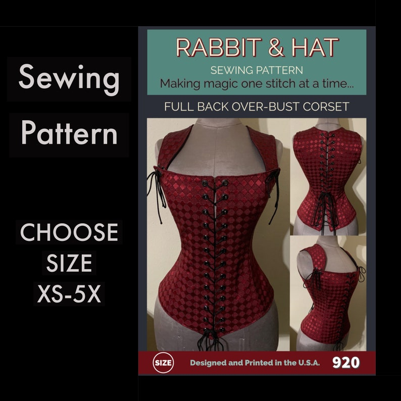 Full Back Laced Steel Boned Over-Bust Corset 920 New Rabbit image 0