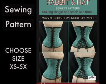 WASPIE Steel Boned Under-Bust Corset with Modesty Panel 1621 New Rabbit and Hat Sewing Pattern With Step by Step Photo Instructions