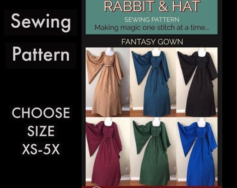 Dagget Angel Sleeve Fantasy Chemise Gown 821 New Rabbit and Hat Sewing Pattern -  Choose Size XS S M L XL 2X 3X 4X 5X