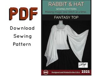 PDF Size MEDIUM Fantasy Dagget Sleeve Renaissance Peasant Chemise Top Blouse 2321 New Rabbit & Hat Sewing Pattern Summer Style