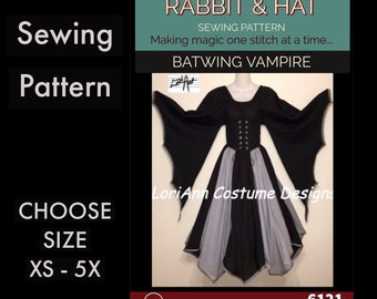 Batwing Vampire Waist Cincher, Bat Wing Fantasy Top, A-line Panel Skirt 6121 New Rabbit and Hat Sewing Pattern Choose Size XS-5X