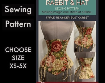 Steel Boned Under-Bust Corset 220 New Rabbit and Hat Sewing Pattern Make it yourself Simple Step by Step Photo Instructions