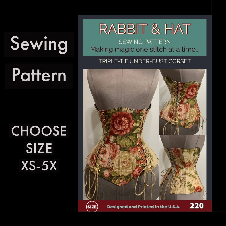Steel Boned Under-Bust Corset 220 New Rabbit and Hat Sewing image 0