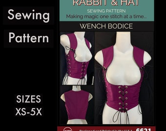The Wench Bodice Under Bust with Adjustable Ties and Shoulder Straps 6621 New Rabbit and Hat Sewing Pattern Step by Step Photo Instructions