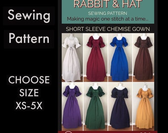 Short Sleeve Fantasy Chemise Gown 921 New Rabbit and Hat Sewing Pattern -  Choose Size XS S M L XL 2X 3X 4X 5X