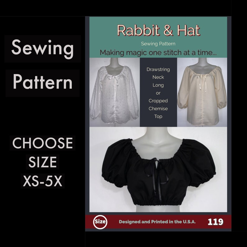 Peasant Style Chemise Top with Puff 3/4 or Long Sleeve image 0