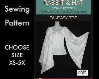 Dagget Sleeve Elvish Fantasy Chemise Top 2321 New Rabbit and Hat Sewing Pattern -  Choose Size XS S M L XL 2X 3X 4X 5X