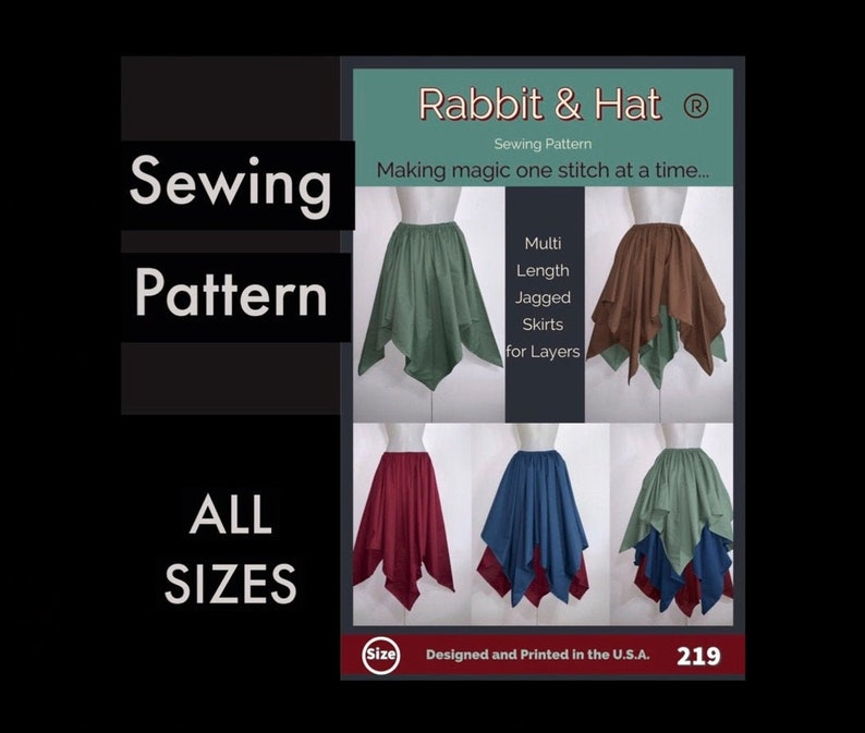 219 New Rabbit and Hat Sewing Pattern  Gathered Waist Jagged image 0